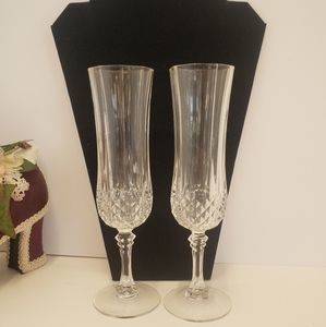2  Vintage Clear Crysyal Champagne Glasses